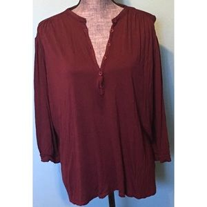Eloquii Burgundy 3/4 Sleeves Top Plus size 22/24
